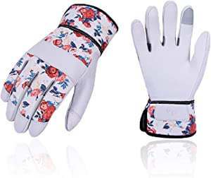 Vgo 1-Pair Premium Geniune Goat Leather Puncture Resistant Palm and Fingertips Gardening Gloves (Size S, White, GA3651)