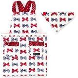 バッククロスエプロン100-120 三角巾付き 子供用 ポルカドットとストライプのフレンチリボン(アイボリー) N7903810