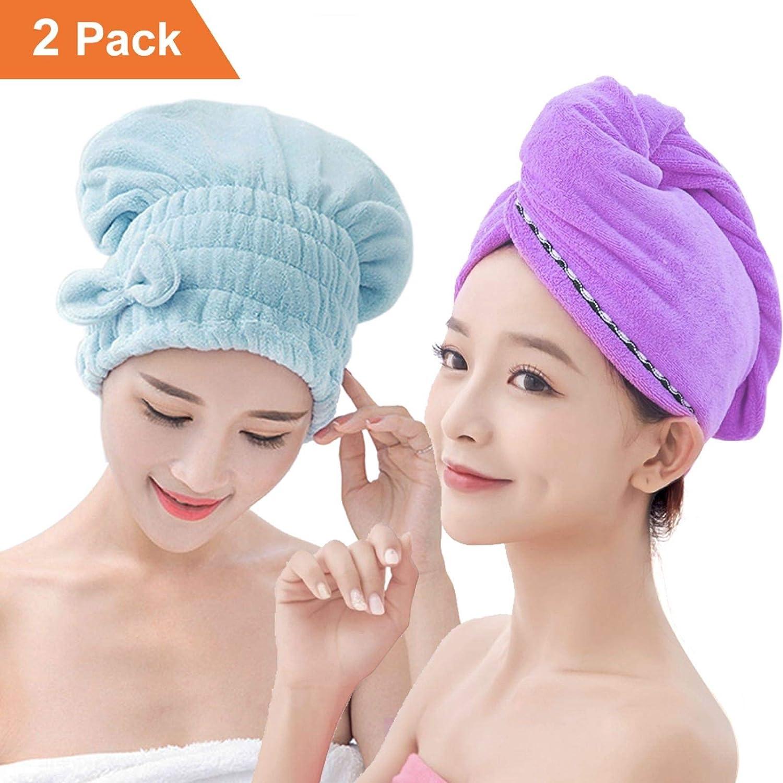 Yugefom Dry Hair Turban Towels 2 Pack, Ultra Absorbent & Fast Drying Microfiber Towel Hair Drying Towel Cap For Women & Girls