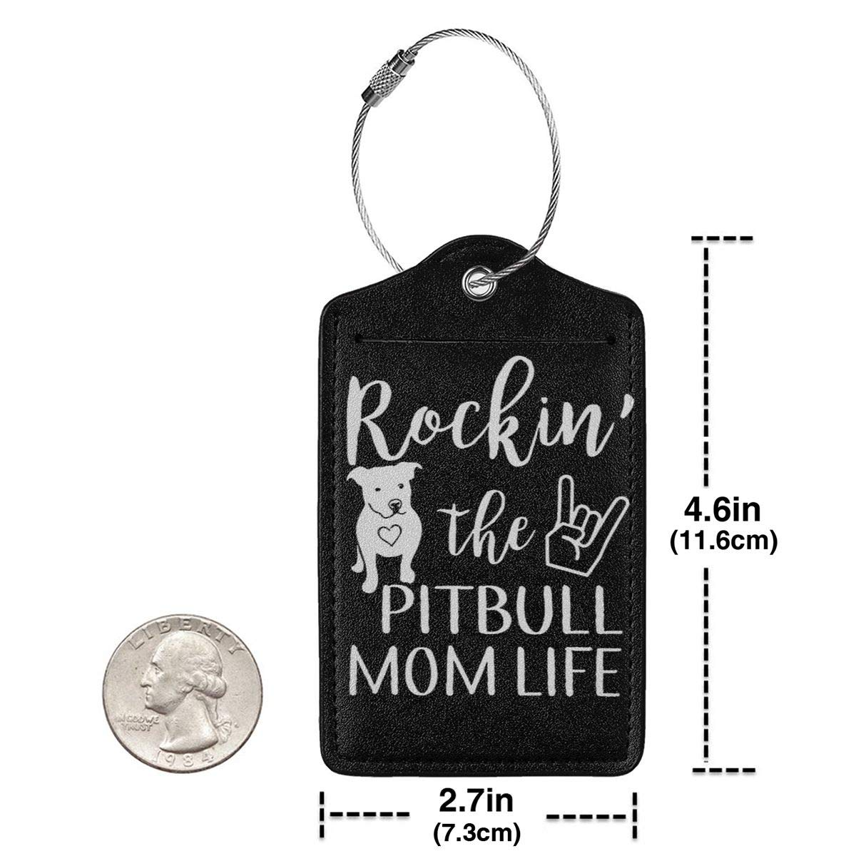 Rockin The Pitbull Mom Life Leather Luggage Tag Travel ID Label For Baggage Suitcase