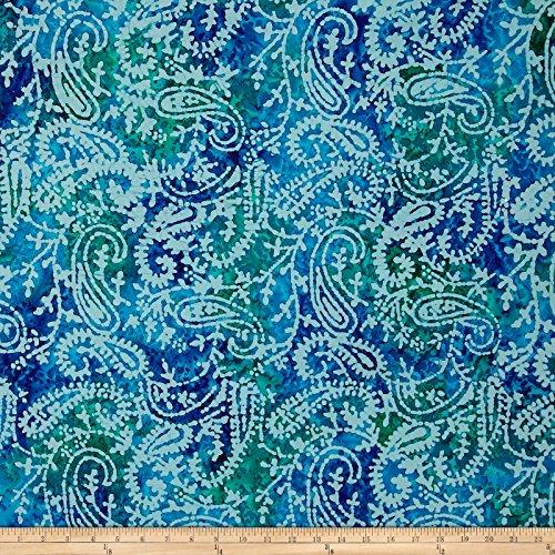 Textile Creations 0559146 Sarasota Paisley Batiks Navy/Turq/Grn Fabric by The Yard, (Sarasota Fabric)