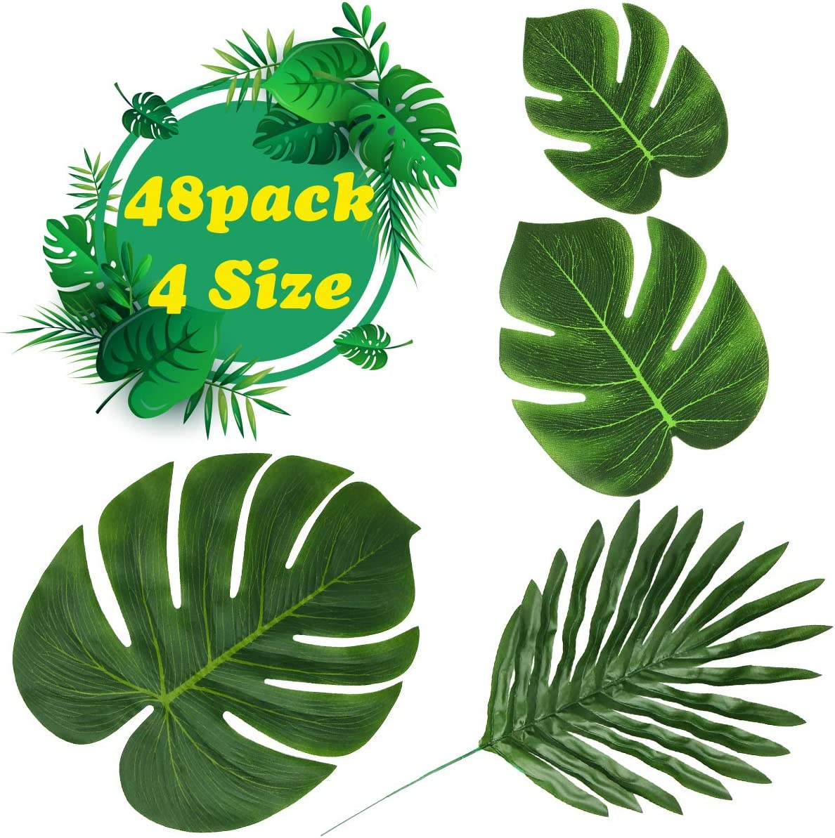 Aitey Artificial Palm Leaves, St. Patrick's Day Decoration Hawaiian Luau Party Suppliers Aloha Jungle Decorations, DIY Fake Plants for Indoor/Outdoor Beach Wedding Birthday Party Decor- 48PCS