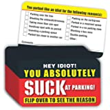 "PARTH IMPEX You Suck at Parking Cards - (Pack of 100) Parked Like an Idiot 3.5""x2"" for Bad Parking Violation with Multi…"