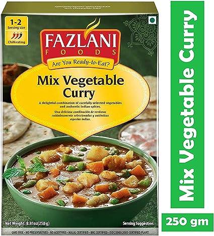 FAZLANI ALIMENTOS Listo para comer mezcla de vegetales curry -Pack ...