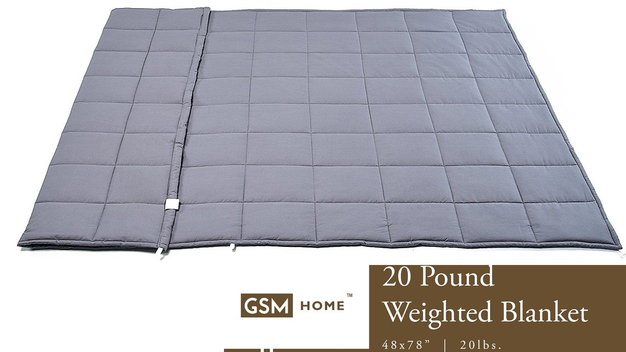 GSM Home Weighted Blanket - Premium Adults - Sensory Conditions, Anxiety, Autism, Sleep Deeper - 20 lbs, 48 x 78 inches