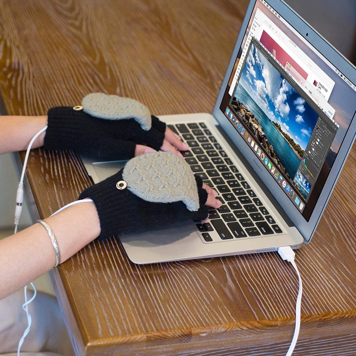 Eurobuy 1 par de Guantes calefactados por USB Invierno Completo y Medio Dedos Calefacci/ón Guantes calefactados para Hombres Manopla Mano c/álida port/átil