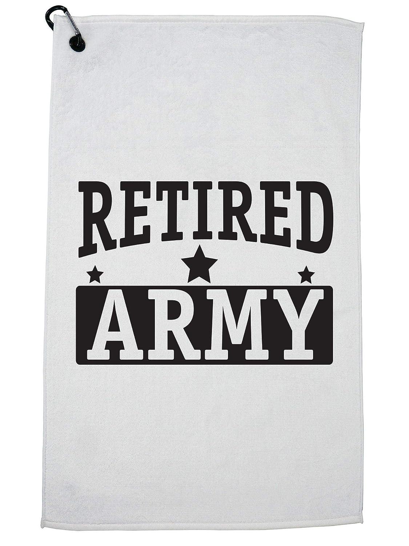 HollywoodスレッドRetired Army Military Veteran Troopサポートゴルフタオルカラビナ付きクリップ   B07G43Z7WF