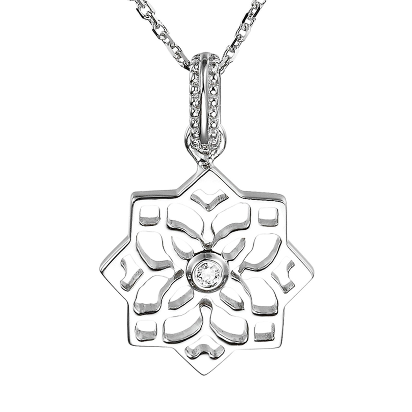 Gnzoe Jewelry 18K White Gold Lotus Flower 0.01ct Pendant Necklace Bride Fashion Chain