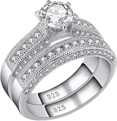 MEDEAN Engagement Wedding Ring for Women 925 Sterling Silver with 1.8Ct White AAA Cz Sz 6-9