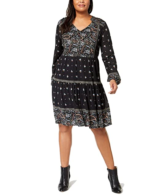 Style & Co. Plus Size Printed Peasant Dress at Amazon ...