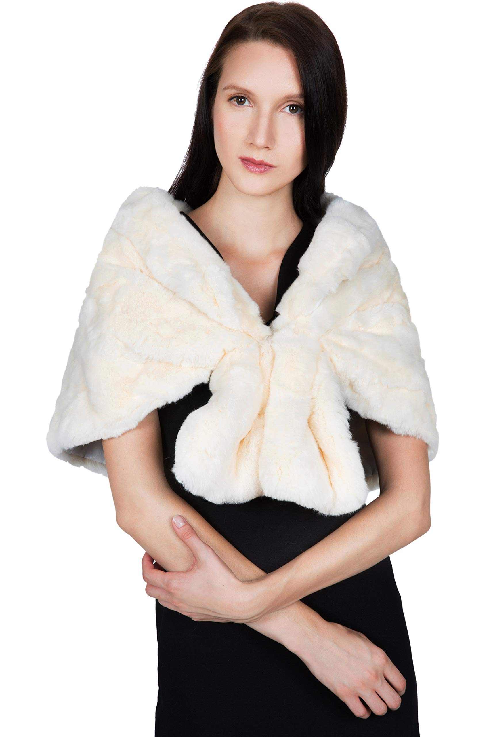 OBURLA Women's Rex Rabbit Fur Cape with Collar | Soft and Luxurious Real Fur Shawl Wrap Stole (Beige) by OBURLA (Image #5)