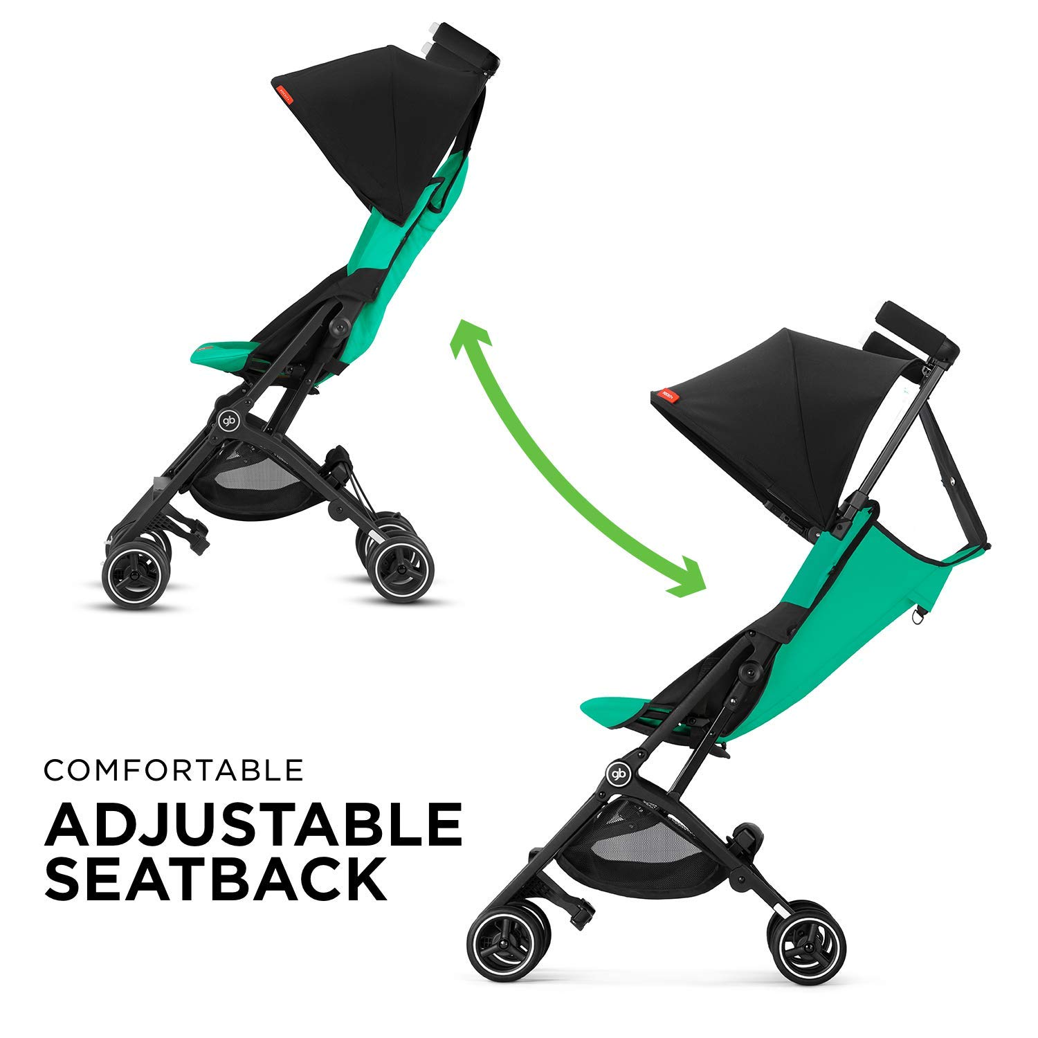 gb Pockit+ Lightweight Baby Stroller, Umbrella Stroller, Collapsible, Travel-Friendly, Folds into Backpack, Fits in Overhead Compartments, Reclining Seat, UPF50+ Sun Canopy, Laguna Blue by gb (Image #5)