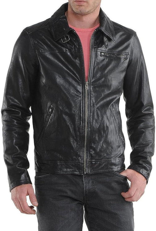 New Mens Leather Jacket Slim Fit Biker Motorcycle Genuine Cow Leather Jacket LFC574 XL