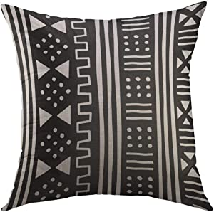 Mugod Decorative Throw Pillow Cover for Couch Sofa,Afrocentric White Black African Mudcloth Mudprint Home Decor Pillow case 18x18 Inch