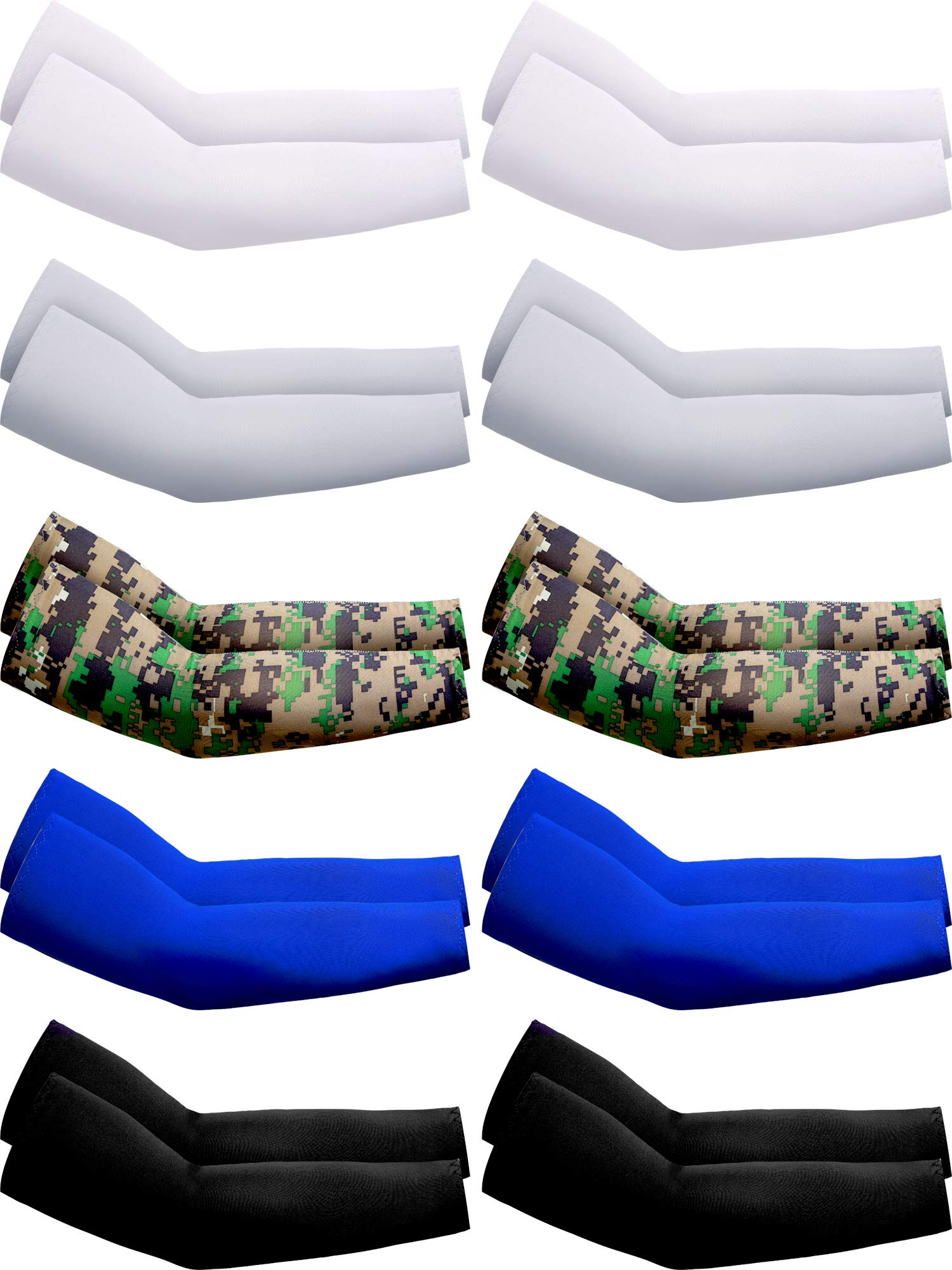 10 Pairs UV Protection Cooling Arm Sleeves Anti-Slip Ice Silk Arm Cover for Men (Color Set 1)