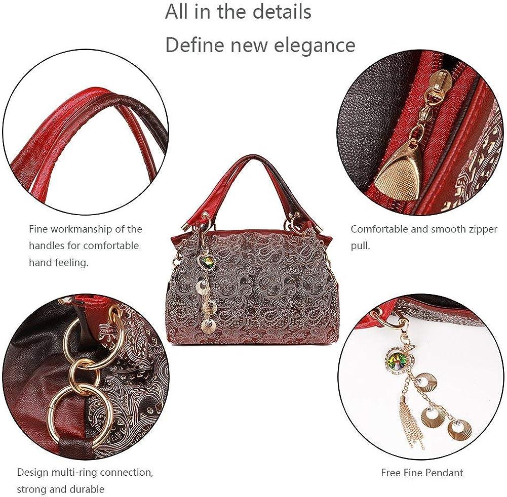 EGOGO Leather Ladies Shoulder Bag Hollow Tote Bag for Womens Hobo Handbags E522-1