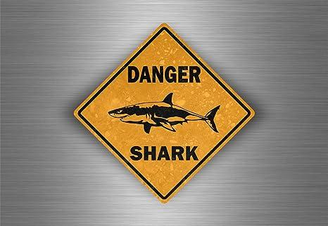 Aufkleber Sticker Auto Motorrad Tuning Gefahr Hai Shark Surf Surfer