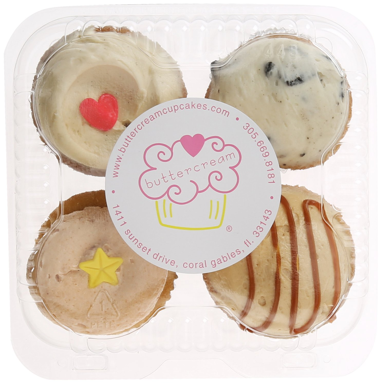 Buttercream Cupcakes, Classic Favorites Miami Style, Standard/4 cupcakes: Amazon.com: Grocery & Gourmet Food