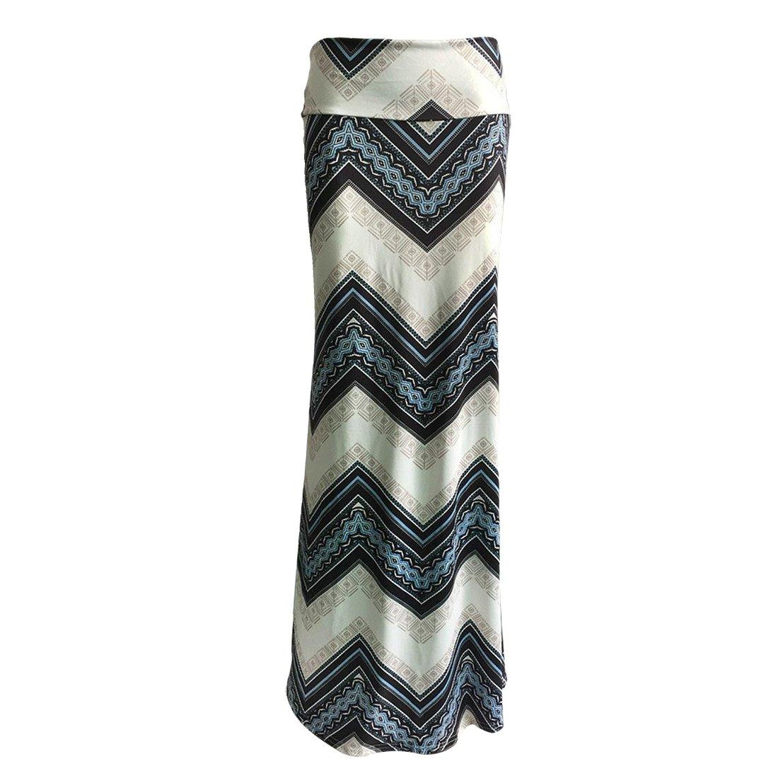 Blue Printed High Waist Maxi Skirt Plus Size Floor-Length Summer Casual Long Skirts for Women (XXL (US 10))