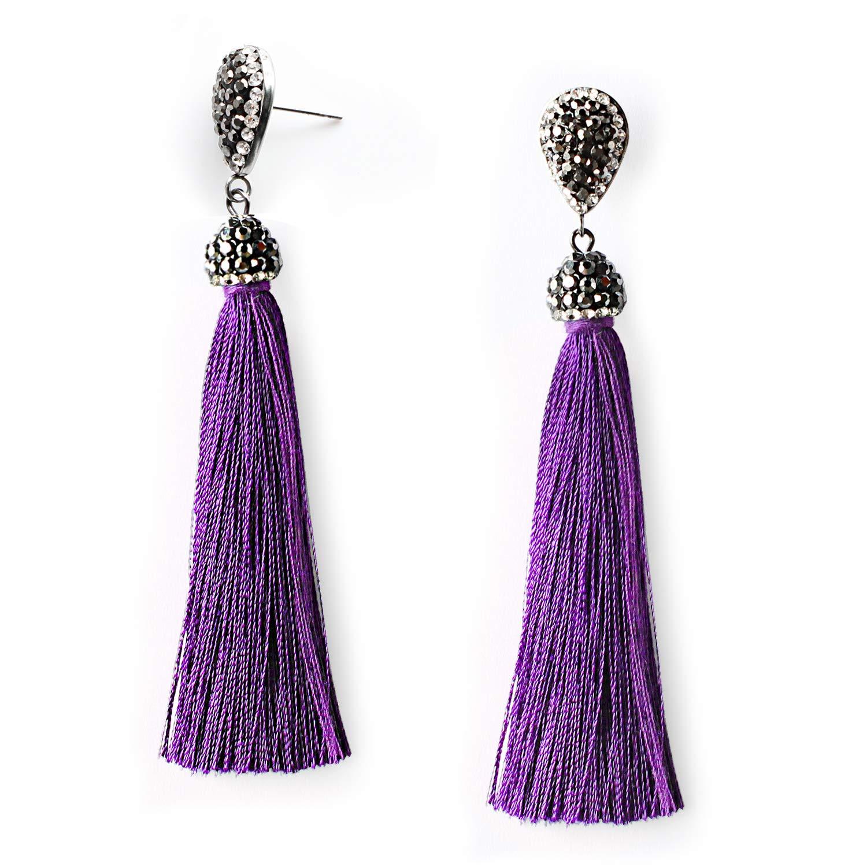 Purple Dangle Drop Fringe Tassel Earrings for Women with Cubic Zirconia Teardrop Top Stainless Steel Stud