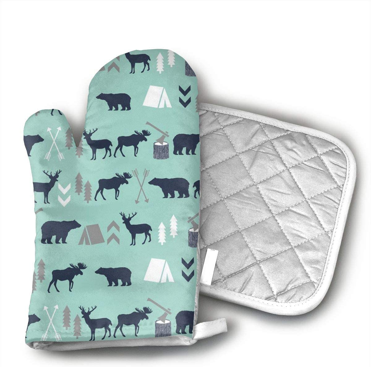 Mint Grey Navy Blue Bear Moose Forest Arrow Oven Mitts, Non-Slip Silicone Oven Mitts, Extra Long Kitchen Mitts, Heat Resistant to 572¡ãF Kitchen Oven Gloves