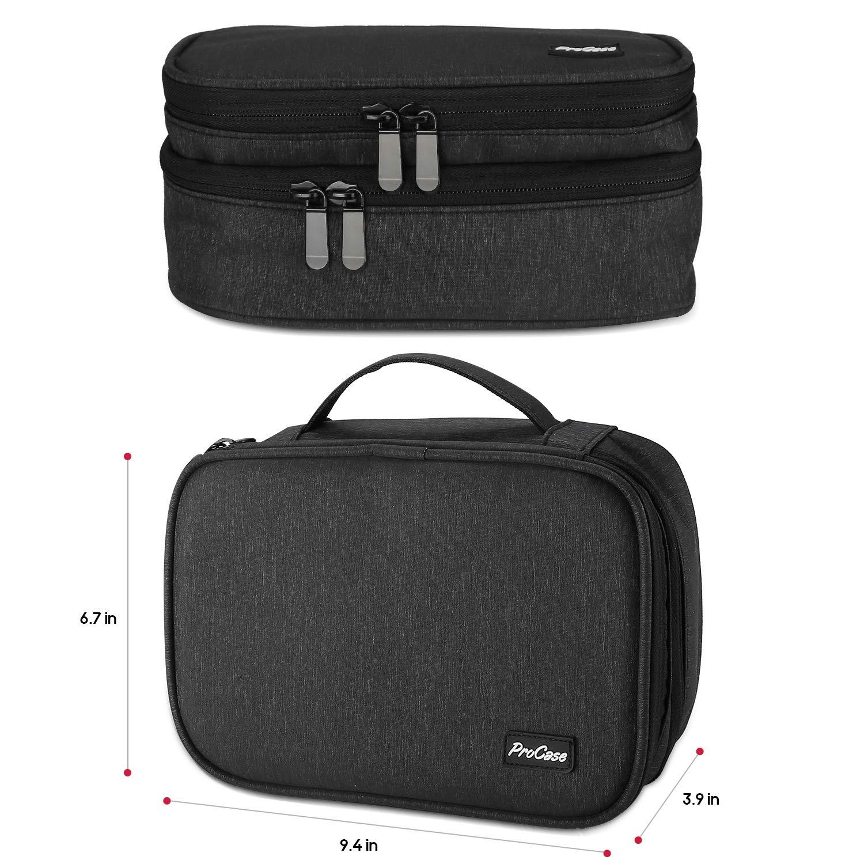 Bolsa de Almacenamiento de Capa Doble Caja de Transporte Universal para Equipo de Viaje iPad Mini Cables Cargador Adaptador Disco Duro y M/ás ProCase Organizador de Viaje para Electr/ónica Negro