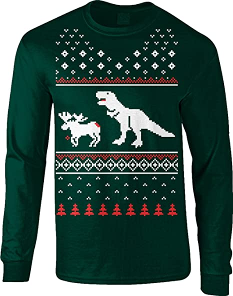 f3022bb0b T-Rex Attack Moose Long Sleeve Ugly Christmas Sweater Funny Shir (Forest  Green)