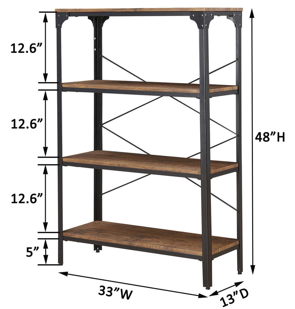 "O&K Furniture 4-Shelf Industrial Vintage Bookcase, Metal Bookshelf, 48""H x 33""W x 13""D, Barn-Wood Finish by O&K Furniture (Image #5)"