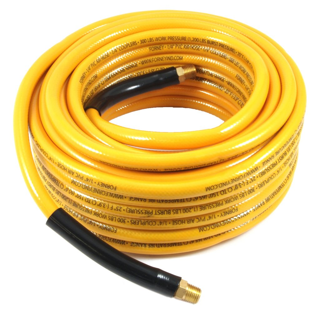 Forney 75415 Air Hose 3//8-Inch-by-100-Feet Forney Industries Yellow PVC with 1//4-Inch Male NPT Fittings On Both Ends