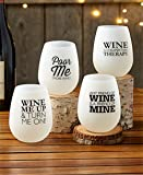 Stemless Wine Glasses Unbreakable Shatterproof Funny Modern Glow-in-the-Dark (Set of 4)