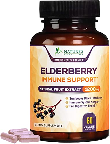 Elderberry Capsules Extra Strength 1200mg – Immune Support Black Sambucus Nigra Extract Pills – Made in USA – Best Vegan Adults Antioxidant Powder Supplement – 60 Capsules
