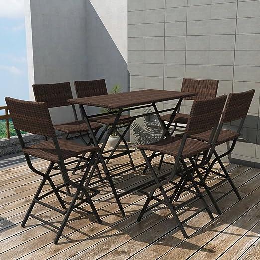 Set de Mesa y sillas Altas de jardín 7 Piezas Poli ratán marrón ...