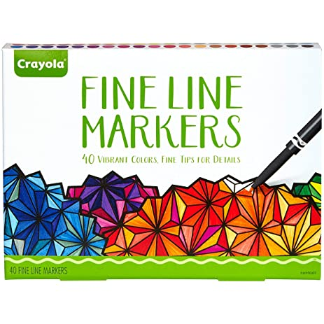 Crayola Fine Line Markers 40 Count Assorted Colors Adult Coloring