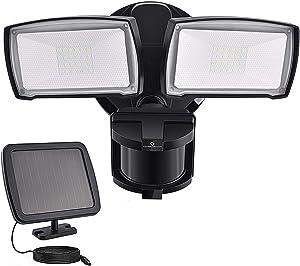Solar Security Lights Outdoor, LED Solar Motion Sensor Light , GLORIOUS-LITE Rechargeable 1000lm Flood Light, 2400mAh Battery, 5500K, IP65Waterproof for Garage, Yard, Porch, Entryways - Black