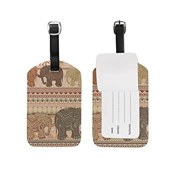 ALAZA Tribal Africano étnico Tag Elefante Equipaje Maletas de Cuero PU del Bolso del Equipaje de Etiquetas: Amazon.es: Equipaje