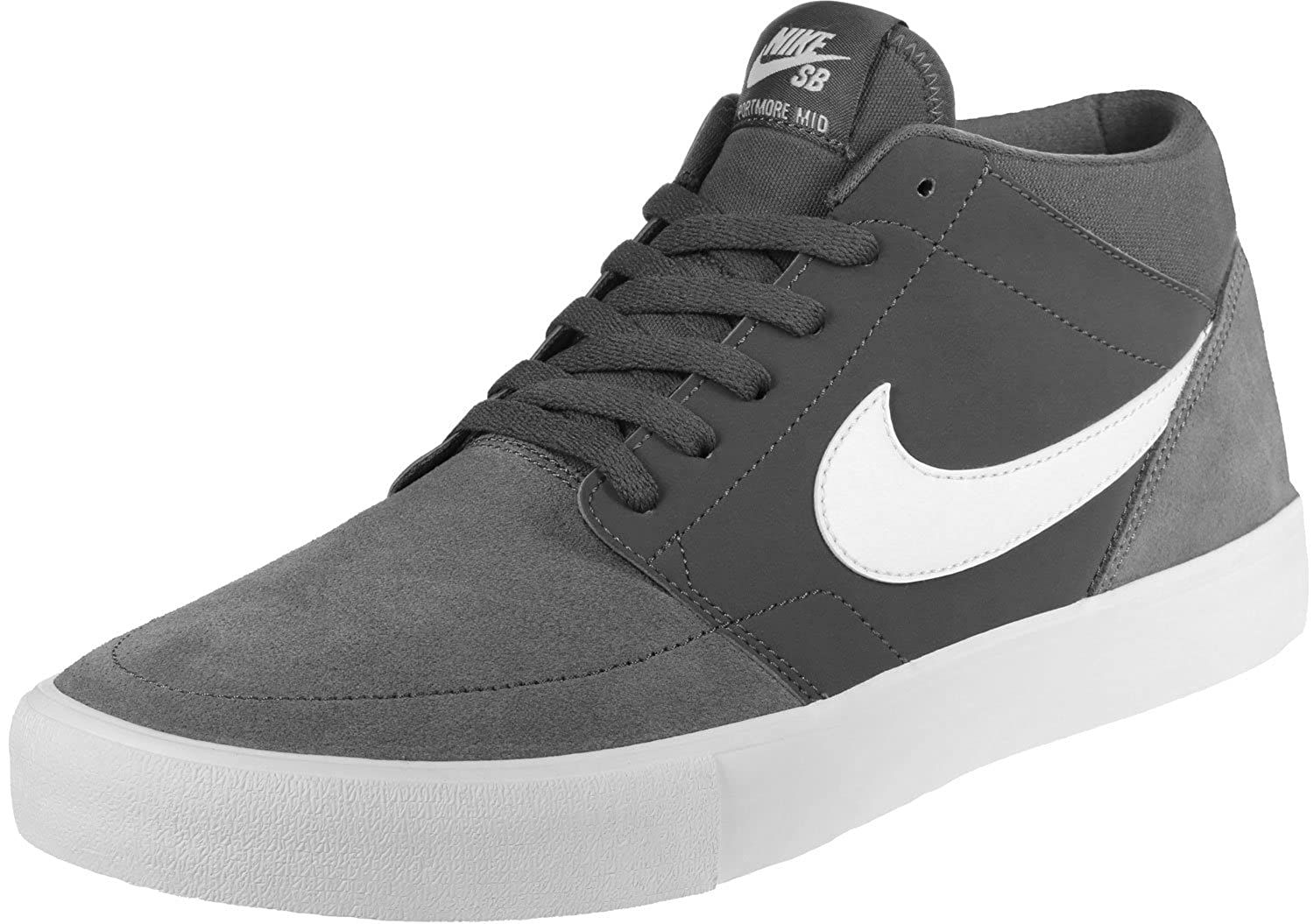 lowest price 151f2 37967 Nike SB Solarsoft Portmore II Mid Men s Skate Shoes (7.5 D(M) US, Dark Gray  White)  Buy Online at Low Prices in India - Amazon.in