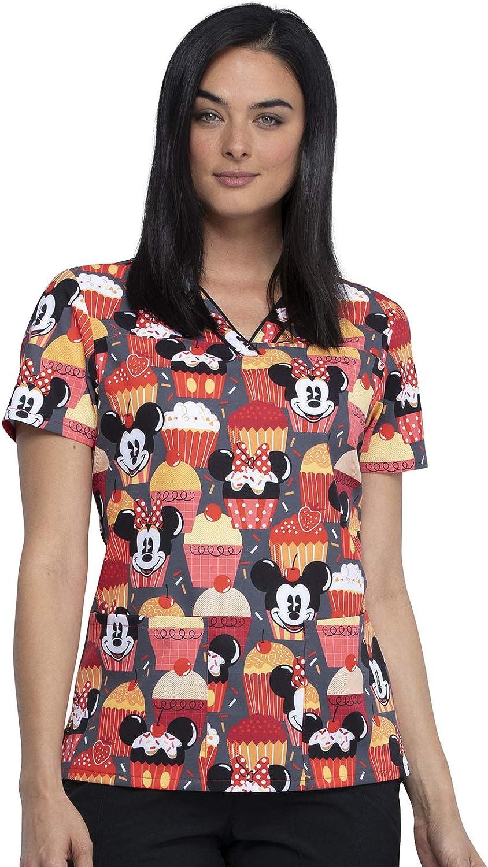 Schlupfhemd mit Motiv Mickey /& Cupcakes CHEROKEE Tooniforms V-Neck Kasack