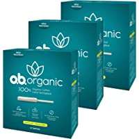o.b. Organic Tampons with New Plant-Based Applicator*, 100% Organic Cotton Core, Regular, 18 Count (Pack of 3)