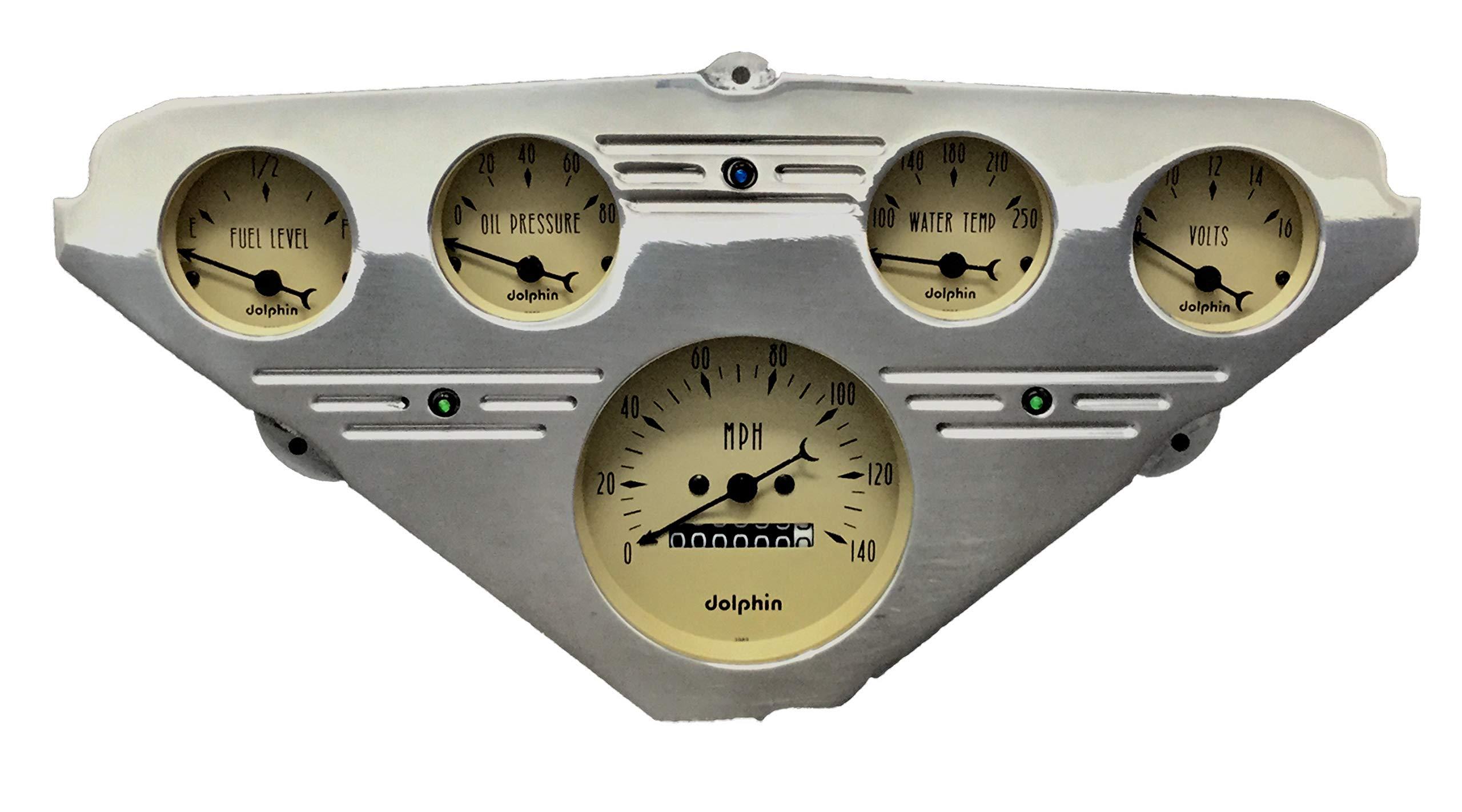 Dolphin Gauges 1955 1956 1957 1958 1959 Chevy Truck 5 Gauge Dash Cluster Panel Set Mechanical Tan