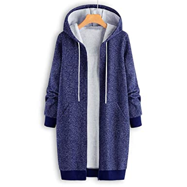 8afd69c942f CATSAP Womens Loose Outwear Solid Hooded Pockets Vintage Coats Winter Warm  Overcoat (Blue
