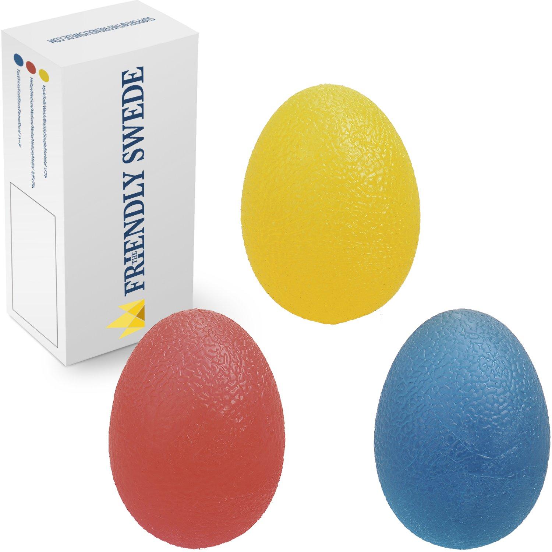 The Friendly Swede Balles Ovales pour l'Exercice et la Rééducation de la Main (3 Pièces avec 3 Niveaux de Résistance) + GARANTIE A VIE Unique) SO11049-tempES