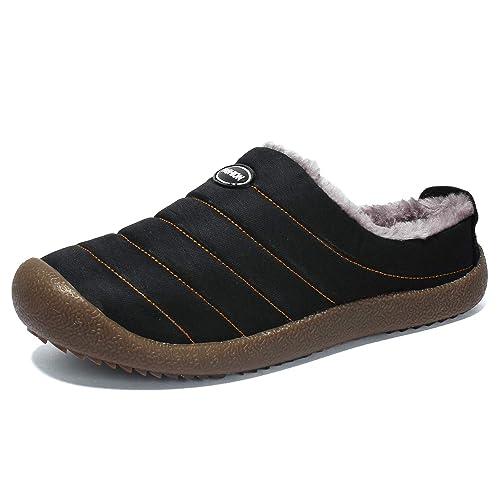 Zapatillas Casa Hombre Mujer Slippers Pantufla Invierno Caliente Casa Algodón Interior Al Aire Libre Zapatos A Prueba de Agua Negro Azul 39-48: Amazon.es: ...