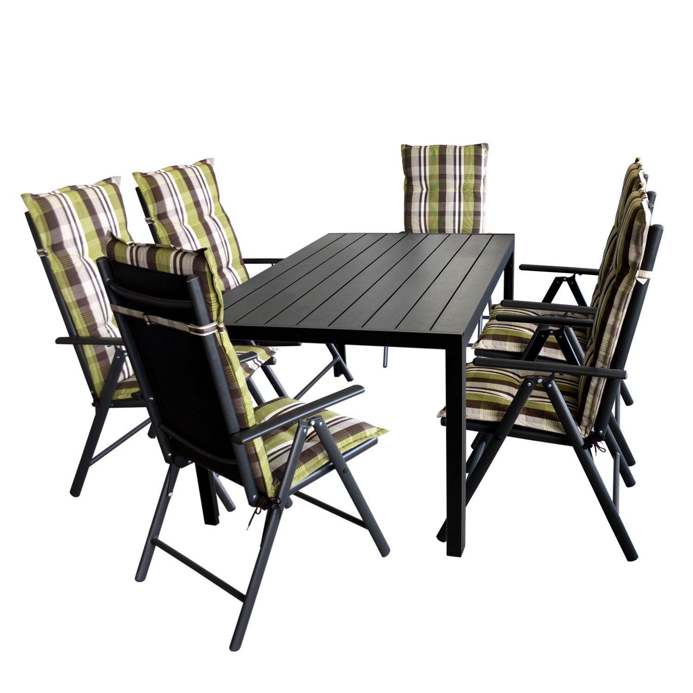 Gartengarnitur Gartentisch, Polywood Tischplatte Schwarz, Aluminiumrahmen, 150x90cm + 6x Hochlehner, Aluminiumgestell, Textilenbespannung Schwarz + 6x Polsterauflage Naxos