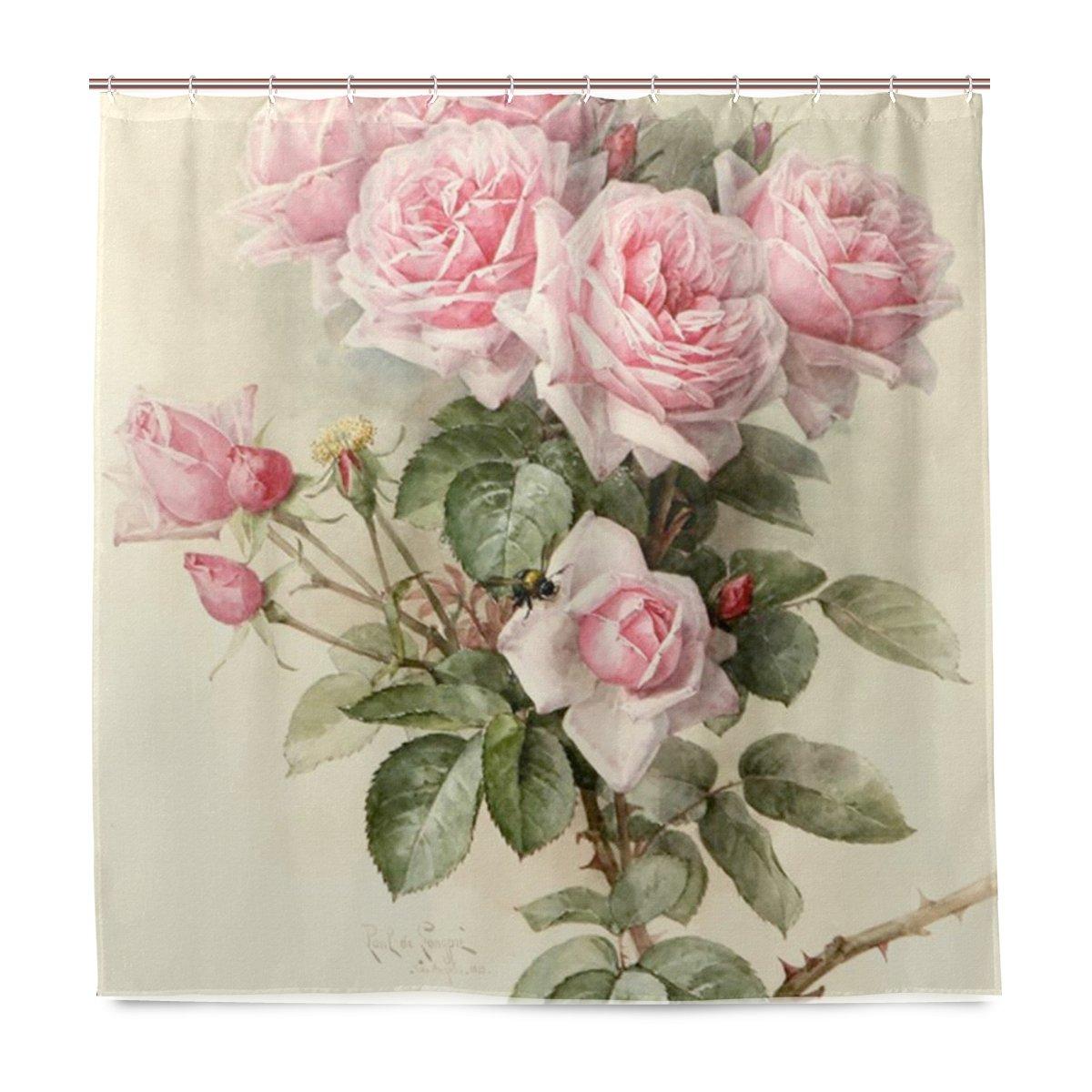 JSTEL Vintage Rose Shower Curtain Mildew Resistant and Waterproof ...
