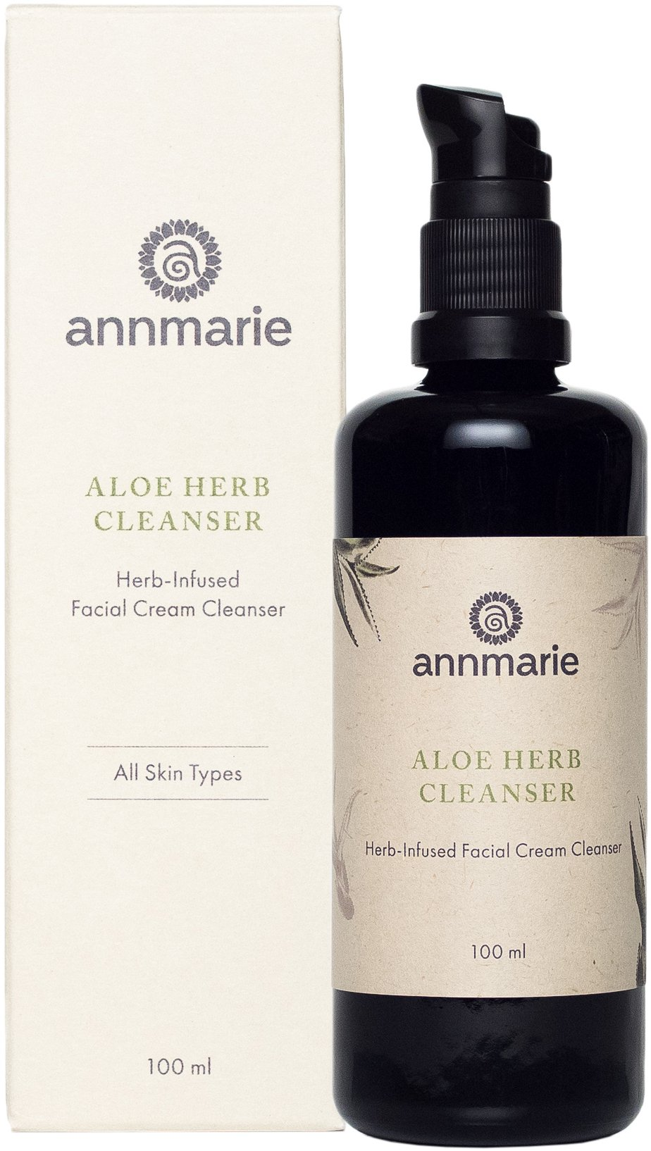 Annmarie Skin Care Aloe-Herb Facial Cleanser - Gentle Cleanser with Aloe Vera, Coconut Oil + Calendula, Suitable for All Skin Types (100 Milliliters, 3.4 Fluid Ounces)