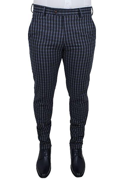 selezione migliore 3c898 19a1a Pantaloni uomo sartoriali grigio scuro blu quadri slim fit ...