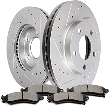 For 1994-2001 Ford Mustang Front Rear Black Slotted Brake Rotors+Ceramic Pads