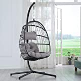 Brafab Swing Egg Chair, Hammock Chair, Hanging Chair,Aluminum Frame and UV Resistant Cushion with Steel Stand for Indoor Outd