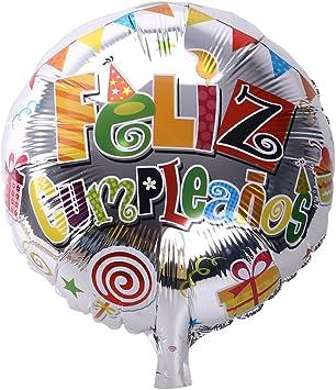 NUOLUX 18 Pulgadas de Forma Redonda española Feliz cumpleaños Foil Mylar Globos para la decoración de la Fiesta de cumpleaños (2): Amazon.es: Juguetes y juegos