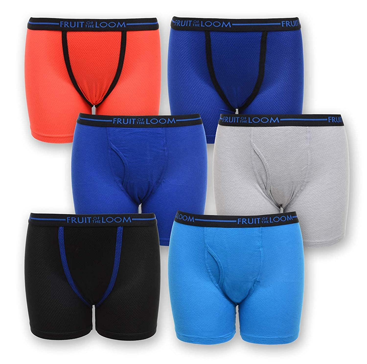 Fruit of the Loom Boys 6 Pack Breathable Boxer Brief Underwear , Micro//Mesh Assorted-6 Pack 6-8 Small